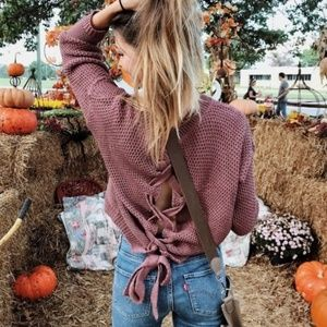 [Express] Chunky Knit Lace Up Back Sweater
